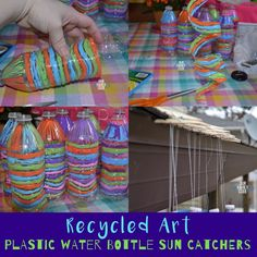 Recycle plastic water bottles into a sun catcher with this great spring project! bottle crafts diy How to Make a Recycled Plastic Water Bottle Sun Catcher Water Bottle Art, Water Bottle Crafts, Plastic Bottle Flowers, Plastic Bottle Crafts, Recycle Plastic Bottles, Water Bottles, Bottle Candles, Recycled Art Projects, Recycling Projects For Kids