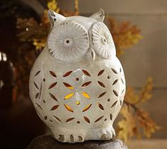 Punched Ceramic Owl Luminary $59