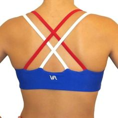 Red and blue criss cross sports bra
