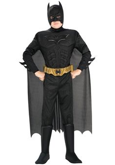 Batman Dark Knight Rises Child s Deluxe Muscle Chest Batman Costume with Mask/Headpiece and Cape - Small. Batman Dark Knight Rises Childs Deluxe Muscle Chest Batman Costume with Mask/Headpiece and Cape - Small.