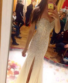 Nude bling prom dress