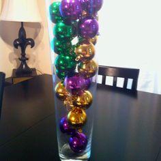Mardi Gras decor vase