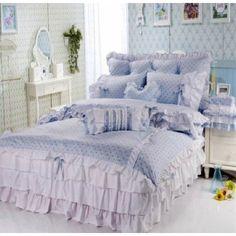 Blue Polka Dot Girls Lace Bowtie Princess Bedding