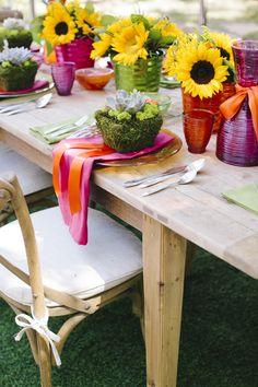 Sunflowers & Succulents Table Decor // SimoneAnne.com