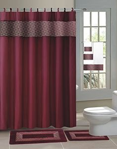 burgundy shower curtain sets. Fresco Burgundy Modern 15Piece Bathroom Accessory Set 2 Bath Mats Shower  Curtain 12 Fabric Covered Rings Hookless Waffle Red shower curtains