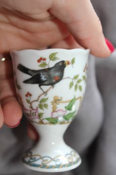 Vintage Egg Cup Combine SHIPPING! Germany Hutschenrether Black Bird