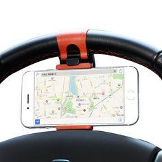 Universele Auto Stuurwiel Telefoon Socket Houder Navigeren Case iphone SE 4 5 S 6 S Plus Voor Samsung Galaxy S7 S5 S6 rand
