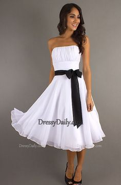 A Line Strapless Knee Length Black and White Bridesmaid Dress - Bridesmaid Dresses - Weddings