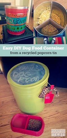 Have an old metal popcorn tin? Need a spot to store your dogs stuff? Heres an easy tutorial for a DIY Dog Food Container from a Recycled Popcorn Tin. - My Doggy Is Delightful Recycler Diy, Dog Food Storage, Diy Storage, Storage Ideas, Kitchen Storage, Dry Dog Food, Cat Food, Homemade Dog Food, Dose