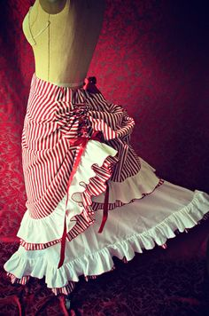 Victorian Steampunk Edwardian Ring Mistress Candy Striper Inspired Bustle Skirt