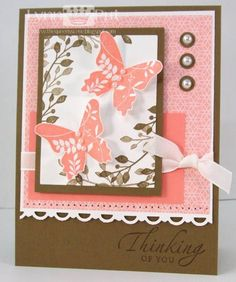 SU Stamps: Great Friends, Sincere Salutations  Paper: Walk in the Park DSP, Soft Suede, Cameo Coral
