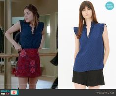 Aria's red lace skirt and blue dotted top on Pretty Little Liars.  Outfit Details: https://wornontv.net/72279/ #PLL