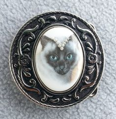 Cat Belt Buckle ~ Round ~ Siamese ~ womens ~ silver ~ West German porcelain cabochon ~ vintage glass pearls ~ gift for her