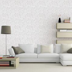 Papier peint sur intissé INSPIRE Briques anciennes, blanc, larg. 0.53 m