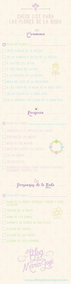 Te presento una #infografía con un checklist para las flores de la boda #bodas #elblogdemaríajosé #floresboda #decoraciónboda #ramonovia