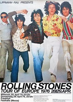 The Rolling Stones - Tour Of Europe - 1976 - Concert Poster