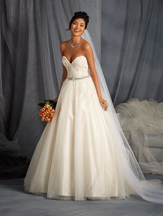 Alfred Angelo Style 2573: ball gown wedding dress with sweetheart neckline and crystal beading