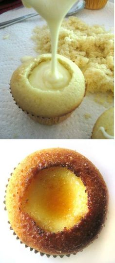 Creme Brulee Cupcakes. *My note - Fill with creme patisserie (pastry cream) or cooked, thickened custard instead of creme brulee mix.