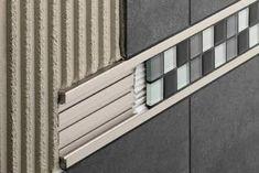 Schluter Tile Edge, Metal Edging, Joinery Details, Tile Trim, Room Tiles, Tile Bedroom, Wall Tile, Diy Décoration, Tile Design