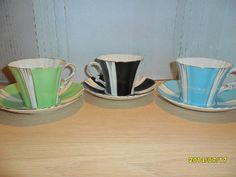 3 Vintage Sets of Royal Albert Crown Cups Saucers Green Black Blue Unknown | eBay