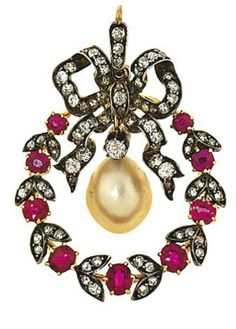 A late 19th century pearl, ruby and diamond pendant brooch   Designed as a tied wreath with diamond-set ribbon and leaves and ruby flowerheads, suspending a pearl swing centre, circa 1890, detachable brooch fitting,