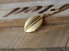 Gold Leaf Pendant Necklace - Also Available in Silver, Autumn Leaf Necklace, Botanical, Minimalist Modern, Simple Jewelry, Unisex Pendant