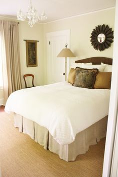 for the love of a house: the South guest bedroom details The wall color is Benjamin Moore's Misty Air OC- 44 in Eggshell with White Dove trim in Latex Satin Impervo.