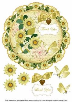Lemon Daisy Thank You 8in Doily Decoupage Topper on Craftsuprint - Add To Basket!