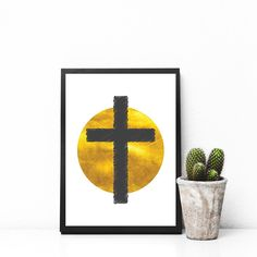 EASTER   is hitting the shops 😳🐇🐣 here is a stylish Easter print. . . . . . #new #easter #decor #holiday #cross #gold #sun #circle #calvary #truemeaningofeaster #stylish #style #modern #wallart #shop #etsy #etsyshop #etsyseller #gold #printables #print