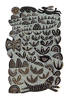 Hare & Dog - Hand Produced, Signed, Linocut by Hilke MacIntyre Hare Illustration, Animal Illustrations, Linocut Prints, Art Prints, Lino Art, Motifs Textiles, Linoprint, Printable Designs, Woodblock Print