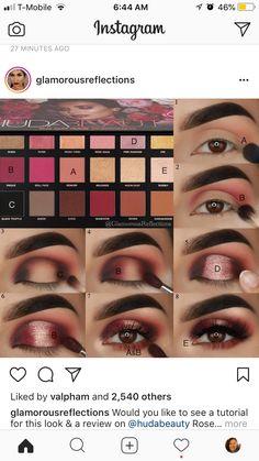 Eyebrow Makeup Tips, Eye Makeup Steps, Makeup Eye Looks, Eye Makeup Art, Skin Makeup, Eyeshadow Makeup, Huda Beauty Rose Gold Palette, Makeup Pictorial, Eye Makeup Designs
