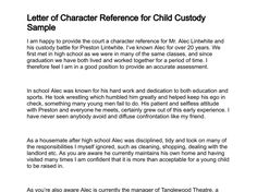 Sample character reference letter professional character reference child visitation letter sample sample character reference for child custody altavistaventures Images