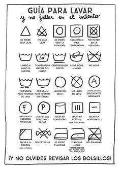 Un imprimible para descifrar los códigos de lavado de ropa y no romperla más :)
