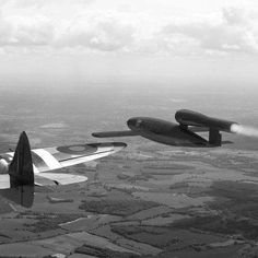 Spitfire, about to flip the wing of a v1 in order to knock the gyroscope off balance and stop the flying bomb reaching its London target, !!