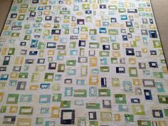 Here are some stats on this quilt: 321 scrappy boxes 15 Bobbins full of thread 89 x 97 inches 7 yards of backing 12 yards of binding