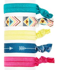 Look at this #zulilyfind! Pink & Teal Tribal Hair Ties - Set of Six by Bel Fiore #zulilyfinds