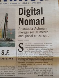Digital nomad = social media + global citizenship. Here I talk with John Zipperer about GlobalNiche.net  in April 2012's MARINA TIMES, a newspaper for the north side neighborhoods of #SanFrancisco. #expats #nomads #global #globalniche #socialweb