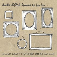 digital frames, hand drawn doodle frames, digital photography graphic design resources, black and white, personal / small commercial use. $6.00, via Etsy.