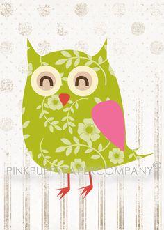 Owl Prints. Girls room.