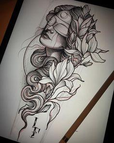 """Gefällt 2,408 Mal, 21 Kommentare - Lucas Ferreira (@lucasferreiratattoo) auf Instagram: """"Estudando!! Lady with magnolias Disponivel. Interessados em tatuar só enviar email para…"""""""