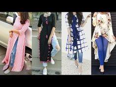 Denim kurti designs to wear with jeans/ palazo pants Long Kurtis With Pants, Long Kurti With Jeans, Kurti For Jeans, Latest Jeans For Girls, Latest Fashion For Girls, Latest Kurta Designs, Latest Kurti, Denim Kurti Designs, Indian Outfits Modern