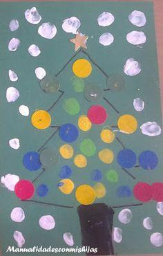 Manualidades con mis hijas: Huellas en Pinos y botas navideñas. christmas tree. Thumbprint