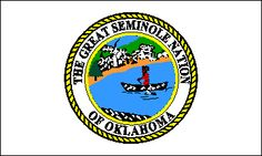 The flag of the Seminole Nation of Oklahoma is white with the tribal seal in the center (Letter, Dena Brady, Acting Executive Secretary, 15 Feb. 1995). The seal (Annin & Co.) has a braided border in yellow and black around a white ring with THE GREAT SEMINOLE NATION above and OF OKLAHOMA below, all in black.