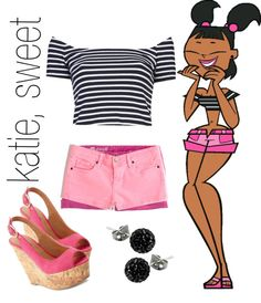 """""""katie, total drama island"""" by simmaaay ❤ liked on Polyvore Island Outfit, Total Drama Island, Themed Outfits, Fandom Fashion, Casual Cosplay, Character Outfits, Movies Showing, Types Of Fashion Styles, Outfit Sets"""