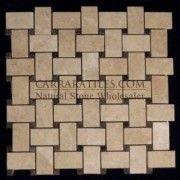 Crema Marfil Marble Basketweave Mosaic Tile with Dark Emperador Dots Polished