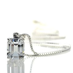 Emerald Cut Crystal Solitaire pendant - 24958-01