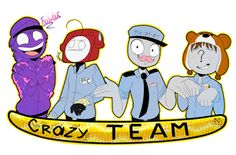Mike is Markiplier - Phone guy is cry - Jeremy is cinnimon toast ken - and vincent is pewdiepie. Freddy S, Markiplier, Pewdiepie, Fnaf Security Guards, Fnaf Night Guards, Scary Games, Fnaf Sister Location, Fnaf Drawings, Freddy Fazbear