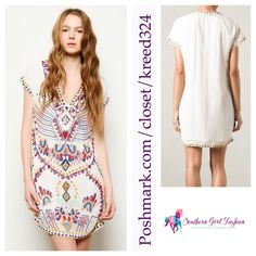 """Blue Dress FREE PEOPLE Beaded White Echoing Ella Size Euro 42, US Large. New with tags. $550 Retail + Tax.   Sheer lined embellished dress with beautiful embroidery and side zip.   By Antik Batik for Free People. 100% viscose.     ❗️ Please - no trades, PP, holds, or Modeling.   ✔️ Reasonable offers considered when submitted using the blue """"offer"""" button.    Bundle 2+ items for a 20% discount!    Stop by my closet for even more items from this brand! Free People Dresses Mini"""