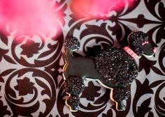 Black French Poodle Custom Sugar Cookie with Hot Pink Studded Collar