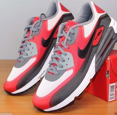 NIKE AIR MAX LUNAR 90 C30 WHITE BLACK UNIVERSITY RED DARK GREY 631744 101